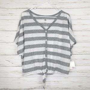 SO | NWT Grey And White Striped Knotted Tee